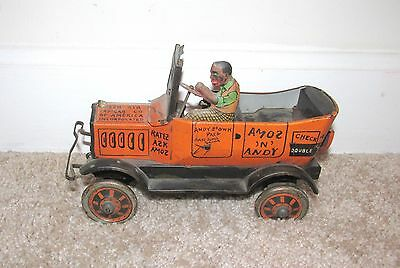 NICE 1930's MARX AMOS 'N' ANDY TIN TAXI CAR WIND UP TOY LITHO