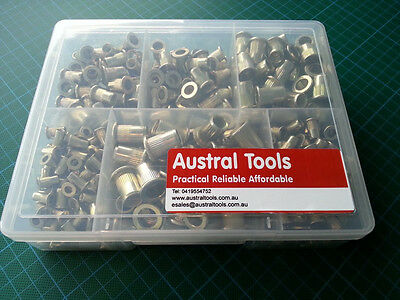 390 Pieces, Rivet Nut, RivNut, Nutsert M4 to M10 Steel Ribbed Open End