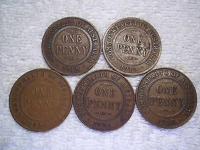 Australia 1915 1919 1920 1931 1922 Penny Old World bronze coins (lot of 5) shown
