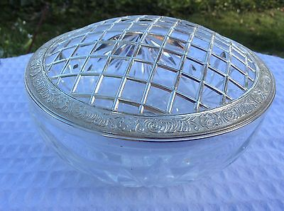 Silver Plated Topped Crystal Rosebowl.