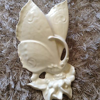 Vintage Collectable Cream Butterfly Wall Pocket Vase Art Deco Style