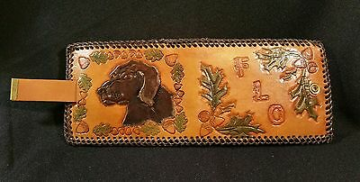 Vintage Ladies Hand Tooled Leather Terrier Puppy Dog Wallet Snap close Billfold