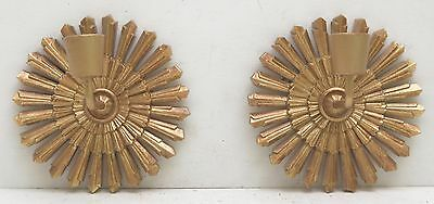 Mid Century Pair of Gold Sunburst Candleholders Wall Sconce Vintage Syroco Wood
