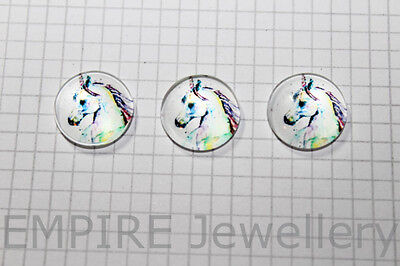 2 x Stunning Unicorn 12x12mm Glass Dome Cabochon Cameo Horse Fantasy Fairy Pony