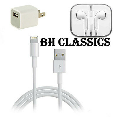 Original OEM for APPLE iPHONE 7 6 Plus 5S CUBE WALL CHARGER LIGHTNING CABLE LOT