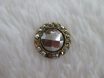 """*ANTIQUE 19th C FACETED CUT STEEL CENTER~FACETED STEELS on BRASS RIM BUTTON 1/2"""""""