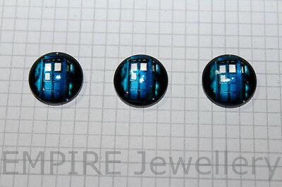 2 x Doctor Who Tardis 12x12mm Glass Cabochons Cameo Dome Phone Booth