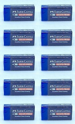 10 Pcs Blue Faber Castell Dust Free Rubber Eraser Pencil Drawing Art Graphic