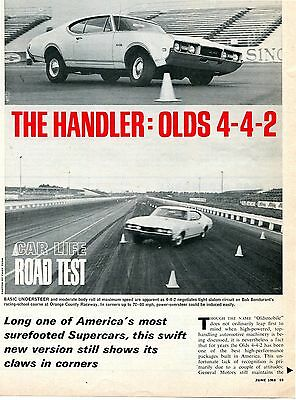 1968  OLDSMOBILE CUTLASS 442 HARDTOP 4 pg ROAD TEST Article