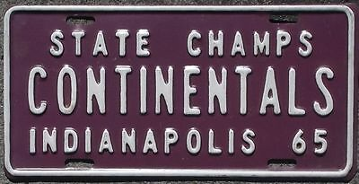 Indiana 1965 Indianapolis Continentals State Champs BOOSTER license plate