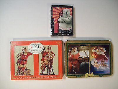 Vintage 1990's Coca Cola Playing Cards Lot Of 5 Decks Sealed 2 Collectible Tins