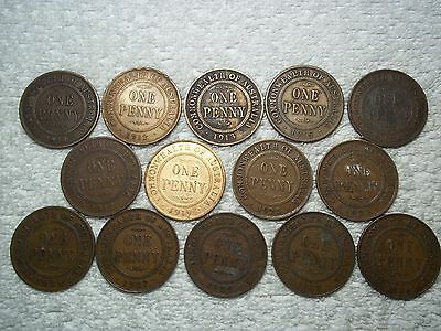 1911 - 1936 Australia Penny Old World bronze collectible coins(lot of 14)shown#D