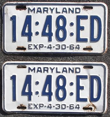 Maryland MD 1964 TRUCK license plates matching PAIR / SET 14:48:ED