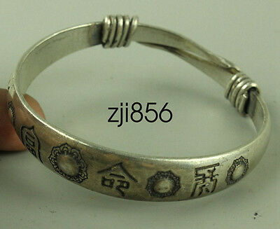 Chinese Old Hand-carved Tibet Tibetan silver bracelet Peace