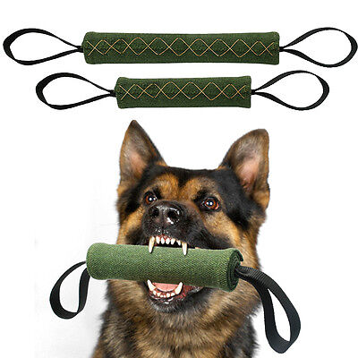 Dog Bite Tug Durable Jute Pet Training Chewing Toy 2 Handles for Schutzhund K9