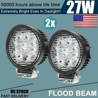 2pcs 27W Flood Lamp LED Work Light Tractor Truck SUV ATV Offroad Headlight New