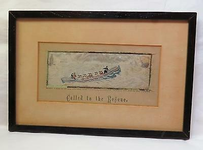 1880 STEVENGRAPH Woven Silk Picture CALLED TO THE RESCUE Sinking Ship w Adv Card