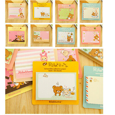 4pcs Cute Cartoon Bear Removable Adhesive Memo Pad Paper Sticky Note Page Marker