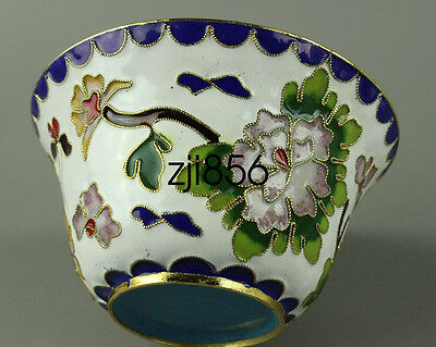 Chinese Collection Decoration old Handmade White cloisonne Cup