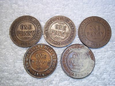 1922 - 1936 Australia Penny Old World bronze collectible coins(lot of 5)shown #i