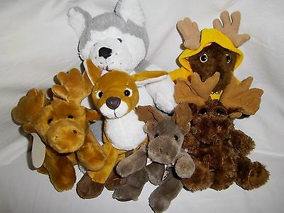 LOT Wildlife N. America Moose Reindeer Wolf Plush Animals Collectables Novelty