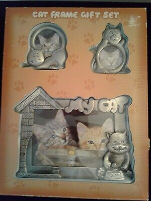 Cat Picture Frame Gift Set of 3 Silver Metal Frames