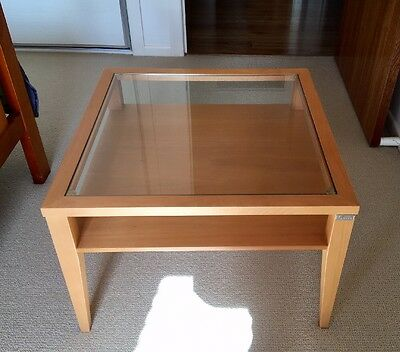 2 Identical Wooden Side/Coffee Tables With Glass Tops