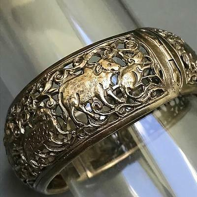 Wide Vintage Sterling Silver Chinese Zodiac Sign Hinged Bangle Bracelet