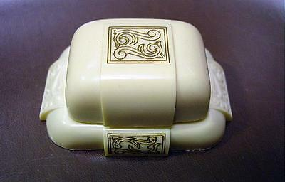 Vintage Dennison Celluloid Ring Box W/ Scroll Motif Cream Color W/ Black Pillow