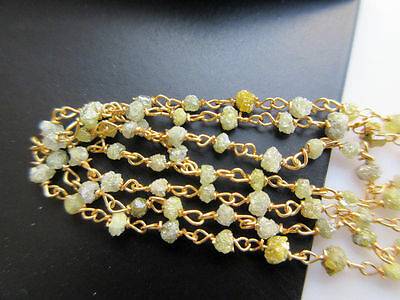 "18"" Yellow Raw Beaded Chain Wire Wrapped Rough Diamond Beads Conflict Free #01"