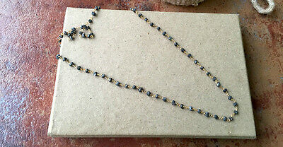 "24""Natural Wholesale Lot Black Raw Beaded Chain Wire Wrapped Rosary Style #001"