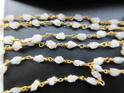 "6"" Natural White Raw Wholesale Lot Diamond Tumble Beaded Chain Wire Wrapped #01"