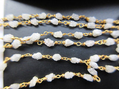 "20"" Natural White Raw Wholesale Lot Diamond Tumble Beaded Chain Wire Wrapped #01"