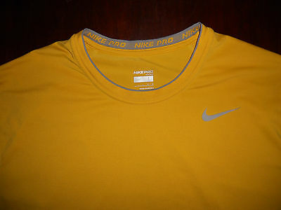 Men's Nike Pro Short Sleeve Fitted Shirt Size L Yellow