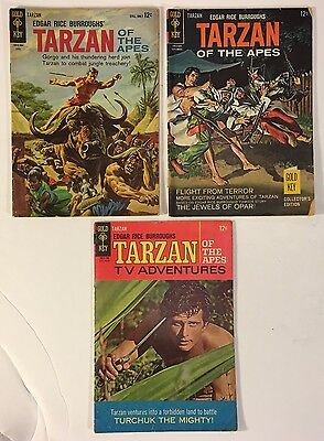 3 Edgar Rice Burroughs' Tarzan Of The Apes Silver Age 1964-1967 Gold Key Comics