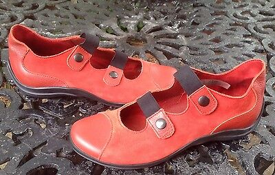 Arche Red Suede Leather shoes Flat Mary Jane Comfort Shoes Size 7