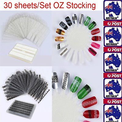 30Sheets 3D Lace Nail Art Stickers Black White DIY Foil Tips Decal Manicure Tool