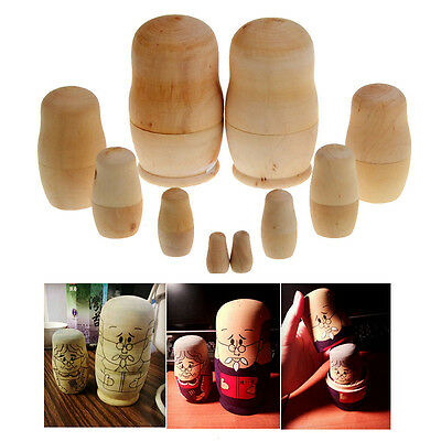 1x Russian five-story baby 5 Matryoshka Wooden Embryos Wood color 5 Sizes  New