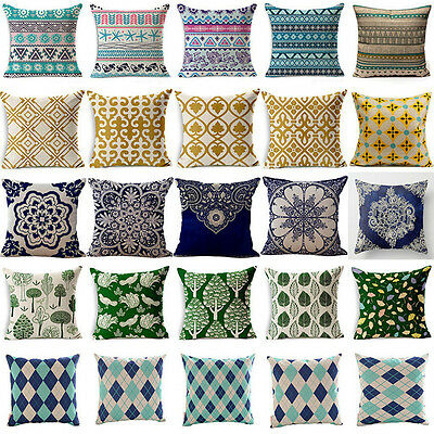 Luxury Vintage Geometric Linen Throw Pillow Case Cushion Cover Home Sofa Decor