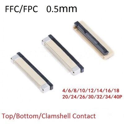 10pcs FFC/FPC Connector Pitch 0.5mm 1.0mm 4P - 40P Top Bottom Clamshell Contact