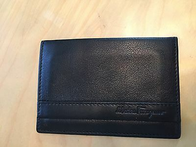 salvatore ferragamo Mens Black leather credit card holder