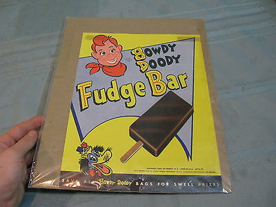 Vintage Howdy Doody Fudge Bar Ice Cream Store Litho Advertising Sign