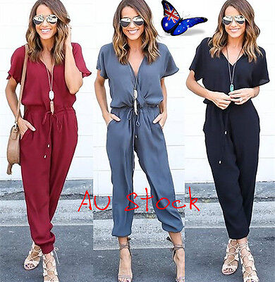 Women's Short Sleeve V Neck Jumpsuits Ladies Evening Party Beach Playsuit Romper