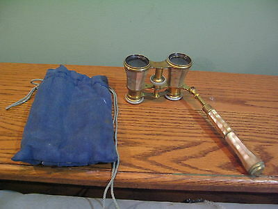 Vintage Lemaire Fi Paris Mother Of Pearl Opera Glasses Binoculars W/ Extend Arm