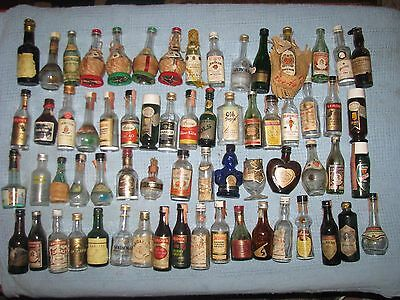 Lot of 65 Vintage Small / Mini Bottles : Whiskey, Wine, Brandy : All Empty