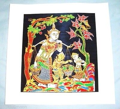 "Thai Art Silk Painting Handmade Picture Home Wall Decor  "" Suang Thong"""