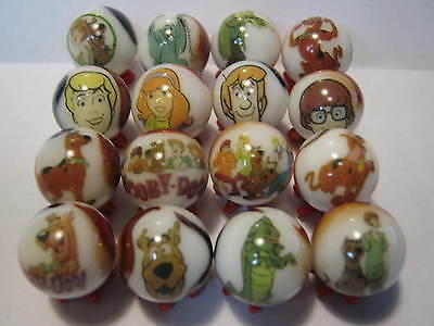 SCOOBY DOO glass marbles collection lot 5/8 size WITH STANDS