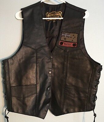 Leather Vest 46 Ties On The Sides Harley Davidson Aussie Flag Motorcycle Men's