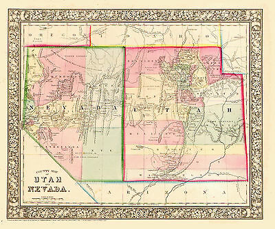 1865 NEVADA and UTAH - Hand Colored S. AUGUSTUS MITCHELL MAP - INDIAN TRIBES