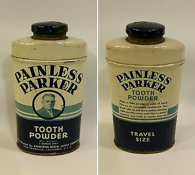 Vintage Painless Parker Tooth Powder Tin Advertisement Dental Dentistry